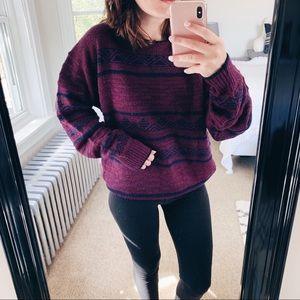 VINTAGE | Purple & Blue Aztec Oversized Sweater L